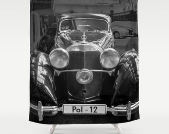 Vintage car Photography Shower Curtain Retro car Mechanic curtain Black Photo shower curtain Modern shower curtain Antique car photo curtain