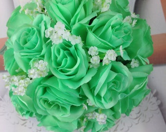 Mint Bridal Bouquet, Mint Wedding Bouquet, Mint Artificial Wedding Flowers