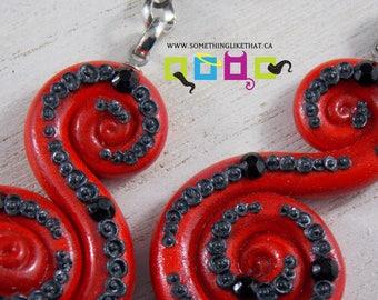 Octopus Tentacle Inspired Dangle / Chandelier Earrings - Devil
