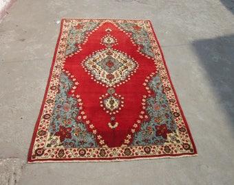 Size:6.5 ft by 4 ft Handmade Rug Vintage Oriental Red Tabriz Carpet