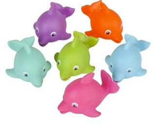 Dolphin (6) party favors/cupcake toppers, party supplies , dolphin, animal favors, Squirts, dolphin favors, sea animal, fish