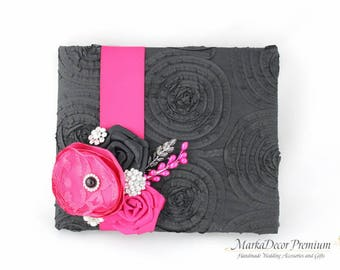 Wedding Lace Guest Book Birthday Custom Bridal Flower Brooch Guest Books and Pen in Black and Fuchsia Pink