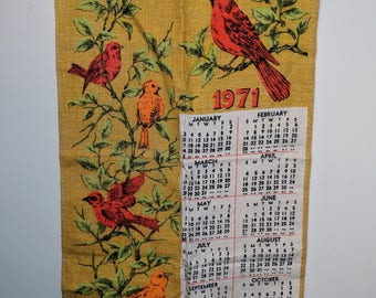 Vintage Fabric Calendar, Linen Calendar, Bird Calendar, Tea Towel Calendar