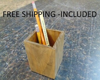 Pencil Cup - Office Organizer - Pencil Holder - Desktop Organizer - Reclaimed Wood - Caddy Tools Holder - Office Supplies