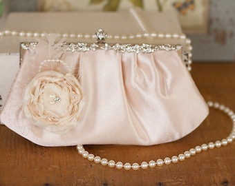 SALE!! Vintage Inspired Champagne Satin Bridal Clutch Purse with Ivory flowers