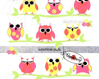 Sunshine Owls Paper and Elements SET: Digital Scrapbook Paper Pack (300 dpi) Birthday Baby Shower Pink Yellow Coral