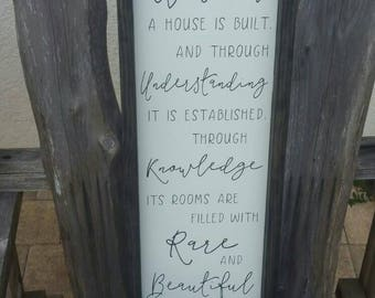BY WISDOM a HOUSE is Built Sign, Proverbs 24 3-4, Wood Sign, Inspirational Décor, Bible Verse, Housewarming Gift, 25.5x9