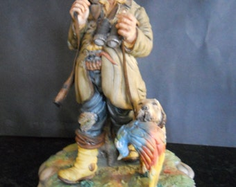 Capodimonte Porcelain Hunter with Dog by Milio.