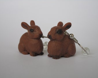 Brown Bunny Rabbit Dangle Earrings (Sterling Silver or Nickle Free)