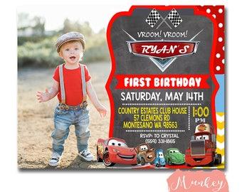 1st birthday invitation cars, Lightning McQueen Invite, Disney cars Birthday, Disney Cars Birthday Party, Disney CARS Birthday Invitation