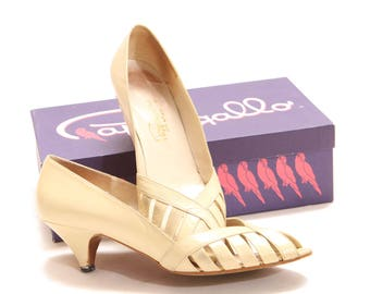 1960s Cream Off White Leather High Heel Pumps by Pappogallo- Size 9AA