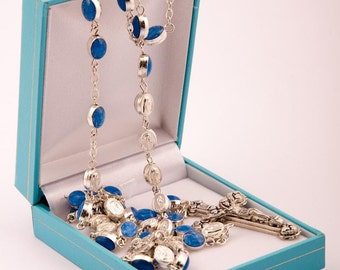 Our Lady of Lourdes Gift Rosary Beads. Blue Our Lady of Lourdes Medal Rosary Beads. Lovely Gift for a First Holy Communion.
