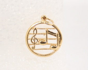 Vintage Gold Musical Note Charm Figural Pendant Fob