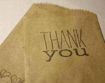 Rustic Favor Bags or Gift Bags with Thank You Stamp | Medium Size Rustic Bags | Size 4x6 Inches |  Thank You Stamp | Set of 10 Bags