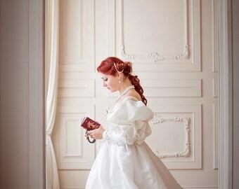 Renaissance Weding Dress, White & Gold Renaissance Wedding Gown