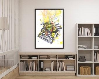 Typewriter Art Print Abstract Art Print From Original Watercolor Painting Typewriter Art Print Great Gift Poster Print Office Wall Art Decor