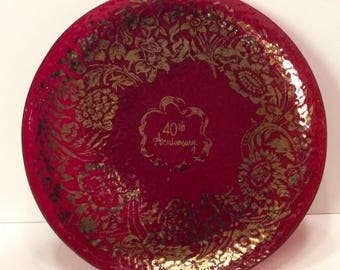 Ruby red 40th anniversary depression glass plate. Gold gilt free ship