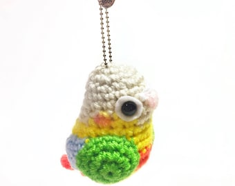 Pineapple Conure Keychain - Crochet Conure - Keychain Accessory - Crochet Plush - Amigurumi Parrot - Conure Toy - MADE TO ORDER