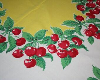 Vintage 1940s Red Cherry Cherries Marlene Tablecloth Huge  60x74