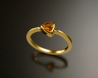 Stackable Citrine triangle ring 14k Yellow Gold stacking ring Made to order in your size