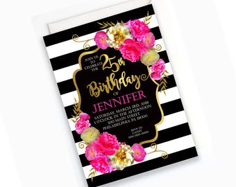 Stripes and Floral Birthday Party Invitation