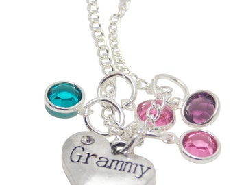 Silver Grammy Necklace - Grammy Jewelry - Personalized - Birthstone Necklace - Grandmother Necklace - Mothers day gift - Gift for Grandma