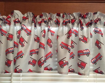 """Fire Trucks Window Valance ~ 62"""" Wide ~ Made and Ready to Ship!"""