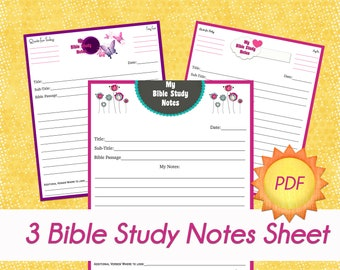 "3 ""My Bible Study"" Sheets"