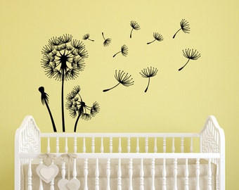 Dandelion Seeds Wall Decal- Flower Dandelion Wall Decals Nursery- Dandelion Vinyl Decal Stickers- Dandelion Wall Art- Bedroom Decor #30