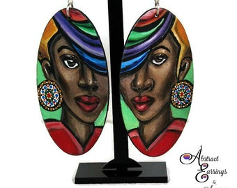 Abstract Earrings Face, Big Colorful Earrings,Afrocentric Natural Hair Afro Black Woman Art Earrings Jewelry Fashion in Arizona Etsy
