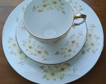 Crown Staffordshire Tea Cup, saucer and dessert plate set