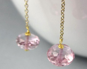 Long Pink Gemstone Earrings 14K Gold Filled Earring Threaders Gold Pink Ear Threads