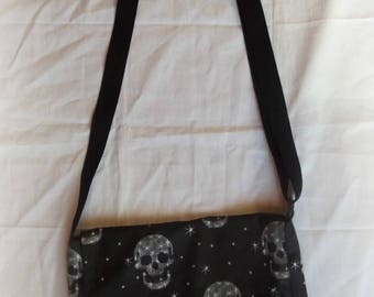 Messenger bag printed skull canvas and cotton lining