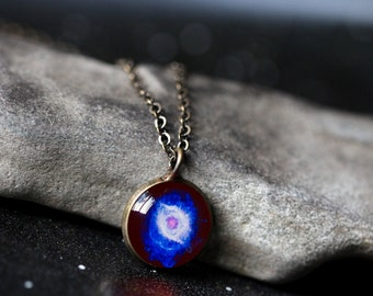 Helix Nebula Pendant - Galaxy Space Necklace - Antique Silver or Bronze - Eye of God Jewellery, Outer Space Universe Jewelry, Science Gift