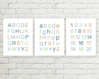 Boys Alphabet Prints, Kids ABC Poster, Numbers Sign Typographic Printable Wall Art, Blue Orange Green Grey 8x10 and 11x14 Digital Download