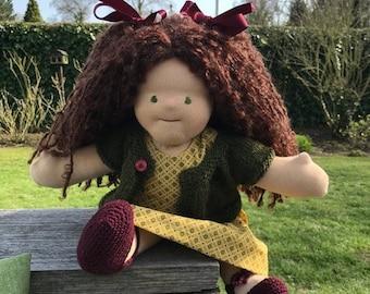 Handmade Waldorf inspired doll of natural materials