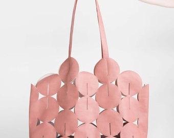 Statement Bag, Blush Shoulder Bag, Vegan Tote Bag, Blush Pink Bag, Vegan Leather Shoulder Bag, Faux Leather Tote Bag, Mothers Day Gift