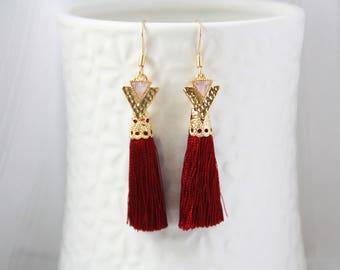 Tassel tassel earrings, gold, gold earrings, red earrinigs, red earrings, feminine earrings, modern jewelry