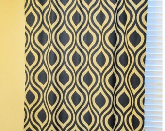 "Ready to Ship - Emily Indigo Laken Drapery Panel Navy Premier Prints One Panel 40""W x 96""L - Cotton Lined"