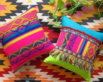 2 Throw Pillows - Pink, Mexican Weave, Boho, Multicolor, Aztec, Gypsy, Bohemian Cushion Cover Set