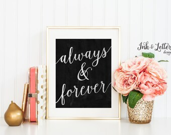 Always and Forever - Chalkboard Wall Decor - Chalkboard Wall Art - Home Decor Print - Instant Download - Digital Printable - 8x10