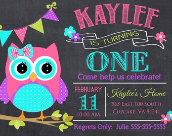 Owl Birthday Party Invitation -5x7 or 4x6 - Pink and Teal Owl Birthday Invitation