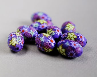 Artisan Made Polymer Clay Beads - Purple Floral Polymer Clay Beads - Purple Floral Polymer Clay Barrels