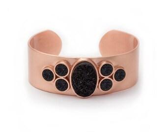Statement Cuff Bracelet - Large Druzy Cuff - Black Druzy in Rose Gold Cuff - Druzy / Drusy / Drusie