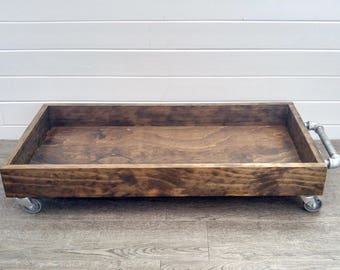 Boot Tray - Industrial Wood Boot Tray - Industrial Shoe Tray - Shoe Storage - Rolling Boot Tray