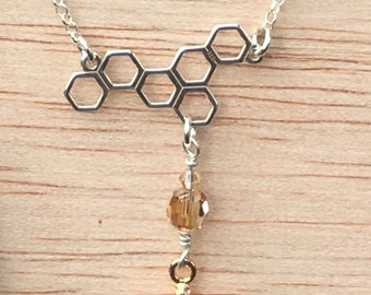 Honeycomb Honey Bee Charm Necklace