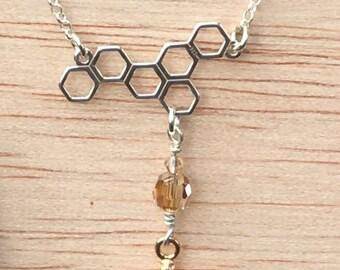 Honeycomb Honey Bee Charm Necklace
