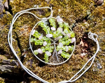 Handmade Wire Wrapped Tree of Life Pendant - Peridot and Rose Quartz