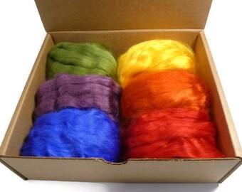 Tussah Silk roving palette, 2.5oz,color: Rainbow