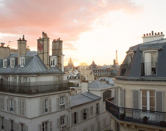 Paris Photography, Sunset on St Germain, Parisian Rooftops, Eiffel tower, Living Room Art, Paris Balcony, Rebecca Plotnick